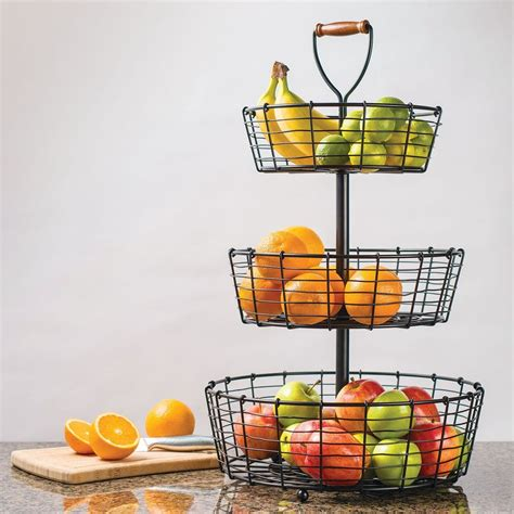 giftburg 3 tier wrought iron wire basket fruit food bath