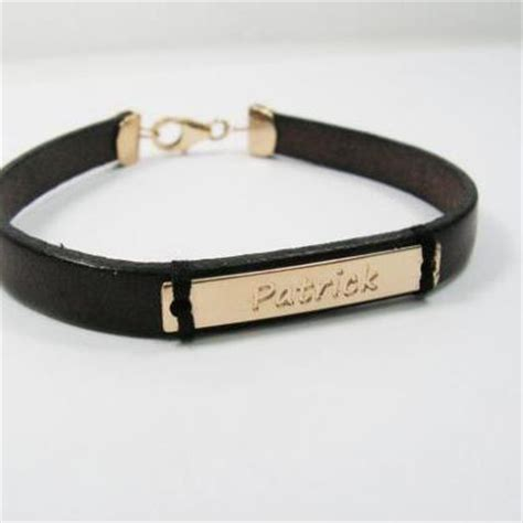 name bracelet leather gold personalized bracelet gold