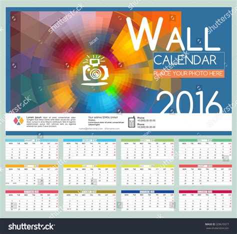 design wall calendar 2016 vector templates stock vector