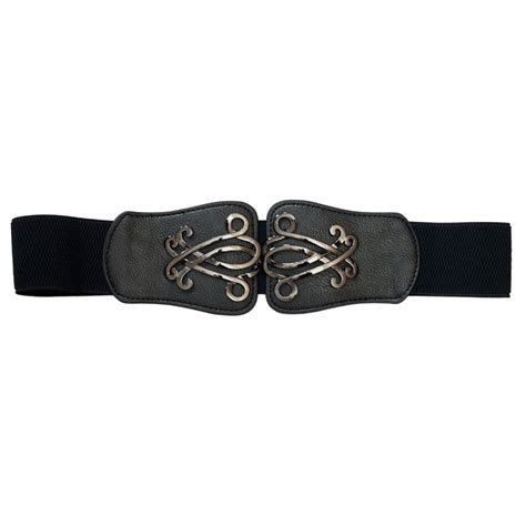 plus size wide elastic cinch fashion belt black evogues