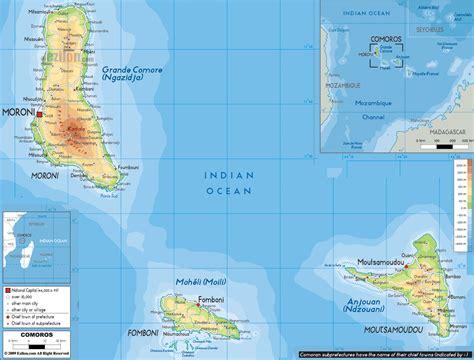 Physical Map of Comoros   Ezilon Maps