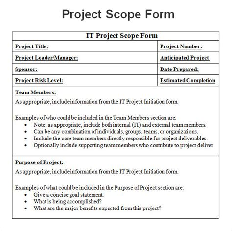 Project Scope Exle Pdf Project Scope Template Scope Statement Template