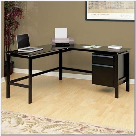 Black Glass Desk by Black Glass L Shaped Desk Foter