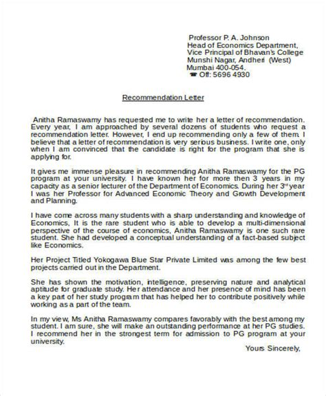 sample academic reference letter templates