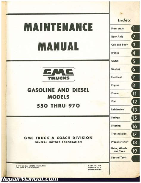 service manual service and repair manuals 2006 gmc gmc 550 thru 970 trucks maintenance manual