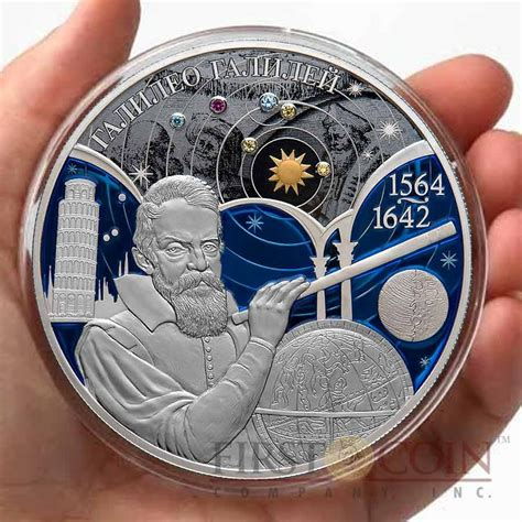 colored coins russia galileo galilei 450 th anniversary 25 rubles gilded