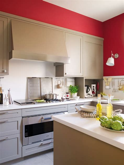 Paint Designs For Kitchen Walls modern beige kitchen design with red walls digsdigs