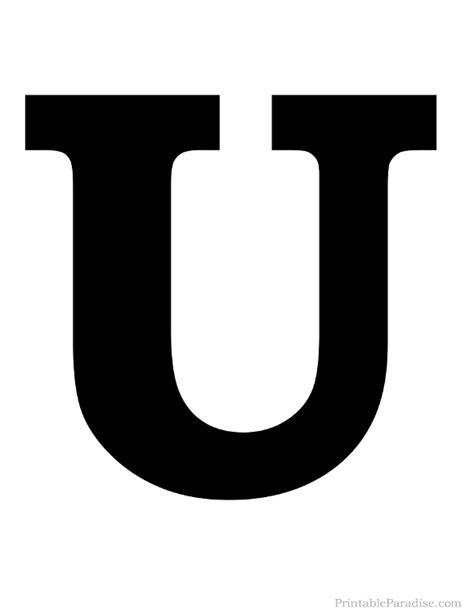 printable alphabet letter u printable letter u silhouette print solid black letter u