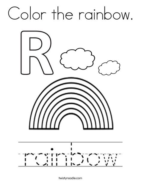 r is for rainbow worksheet twisty noodle color the rainbow coloring page twisty noodle