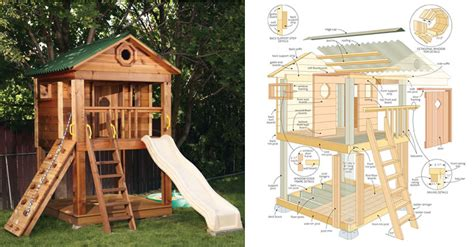 childrens wooden playhouse plans   woodplans