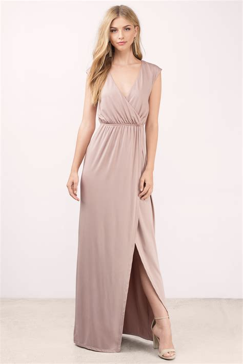 Dress Maxy mauve maxi dress high slit dress maxi dress 68