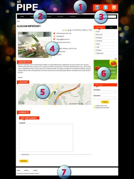 drupal themes layout a drupal theme for local directory of restaurants or any