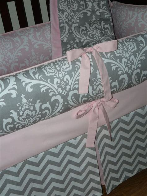 pink and gray chevron baby bedding light baby pink gray damask chevron 3pc crib