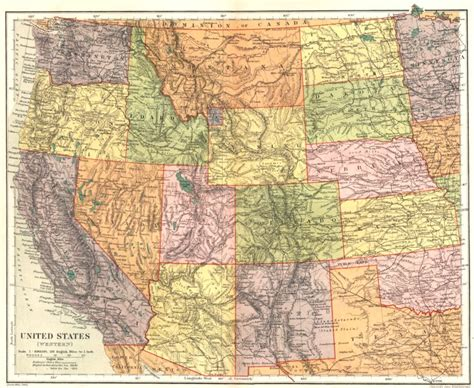 western us map usa united states western stanford 1892 map