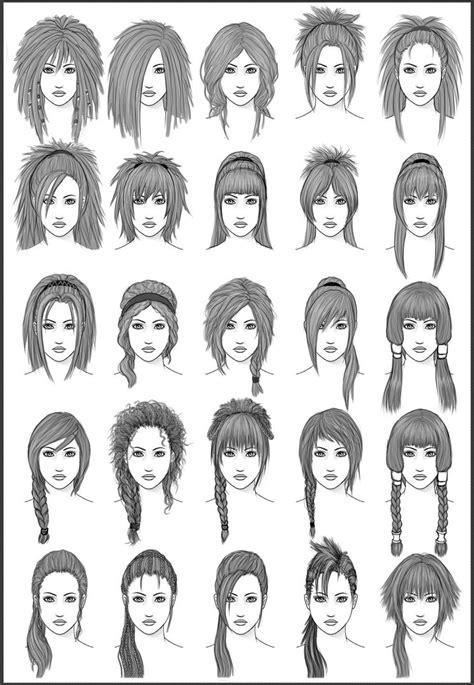 drawing hairstyles pdf women s hair set 3 by dark sheikah on deviantart