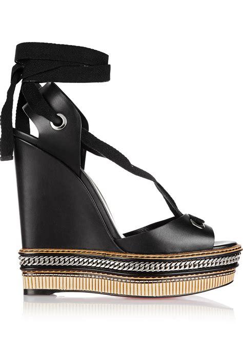 Loubotin Wedges Black 1 christian louboutin tribuli 140 chain trimmed leather wedge sandals in black lyst