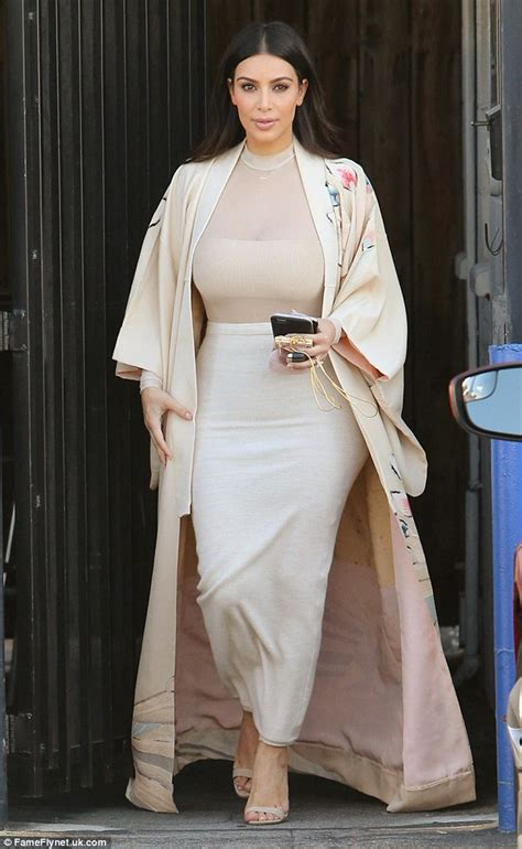 Look Kimono Dresses Couture In The City Fashion by Covers Up In Maxi Skirt After Revealing She