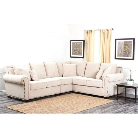 nailhead sectional sofa abbyson living bromley fabric nailhead sectional sofa in