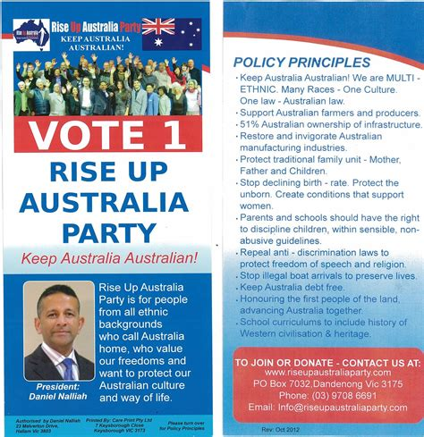 political caign brochure template vote 1 for rise up australia