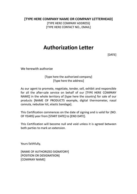 authorization letter in business authorization letter the letter sle