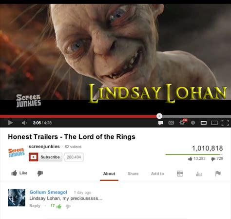 Meme Youtube - gollum loves lindsay lohan youtube roleplay accounts