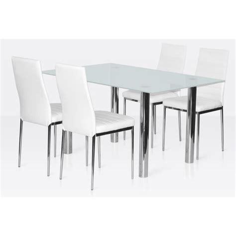 ensemble salle 224 manger 4 chaises table en verre blanc