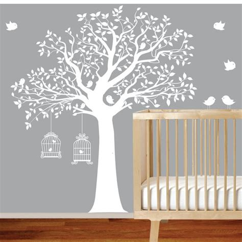 white tree wall sticker vinyl wall decal stickers bird white tree set nursery wall