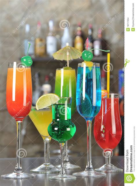 alcoholic drinks at a bar drinks on a bar stock images image 18717254
