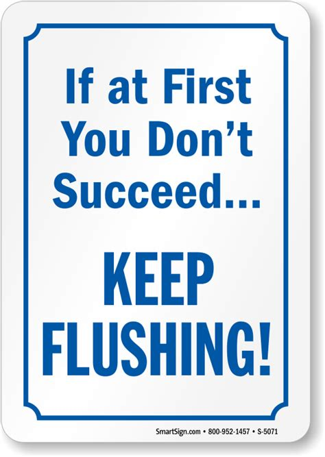 novelty bathroom signs if at first you don t succeed keep flushing sign