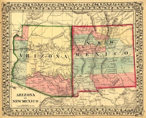 road map of arizona and new mexico historical map of arizona and new mexico az 1867