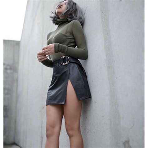 Slit L With by Skirt Black Leather Skirt Leather Skirt Black