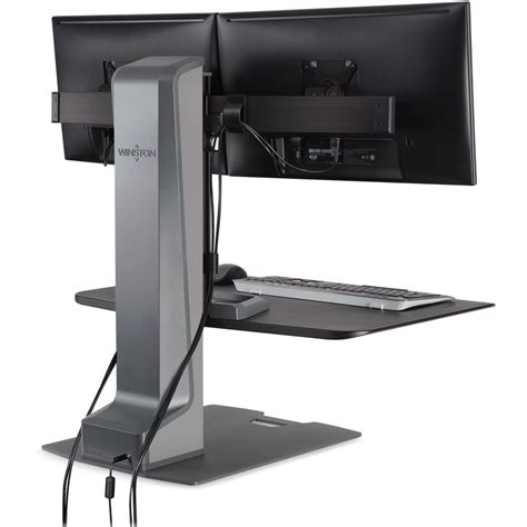 sit stand desk dual monitor innovative winston e dual monitor sit stand workstation