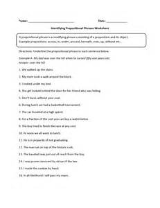 prepositional phrases worksheets identifying