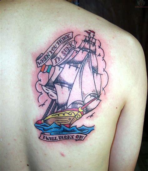 old school ship tattoo designs school ship on back shoulder