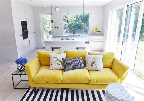 living room with yellow sofa that yellow velvet sofa sophie robinson