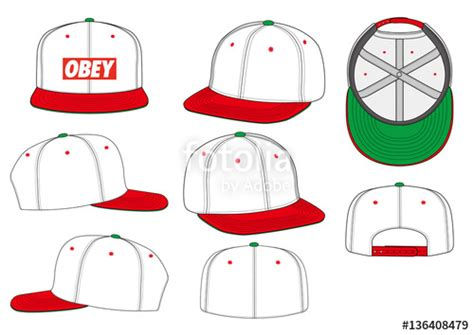 Quot Obey Snapback Fashion Flat Technical Drawing Template Quot Stock Image And Royalty Free Vector Hat Template Illustrator