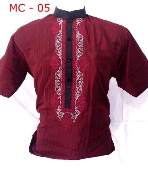 Baju Koko Bordir Merah Motif baju koko model terbaru bordir simpel dan bagus