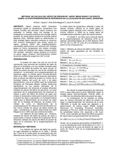 (PDF) MÉTODOS DE CÁLCULO DEL DÉFICIT DE PRESIÓN DE VAPOR