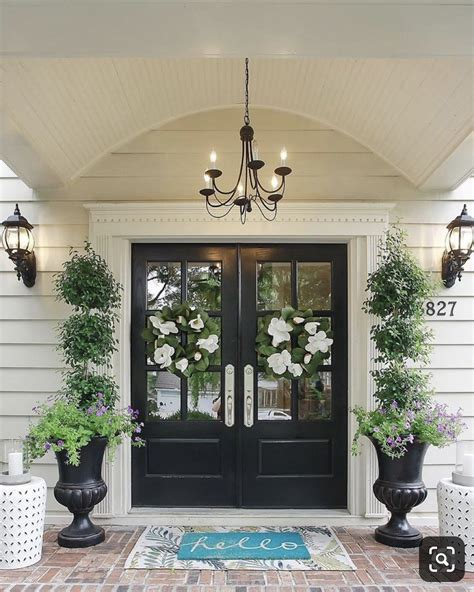 beautiful black double entry doors front porch