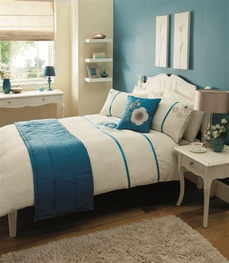 cream and teal bedroom bed in a bag 5pc bedding duvet quilt cover set carla