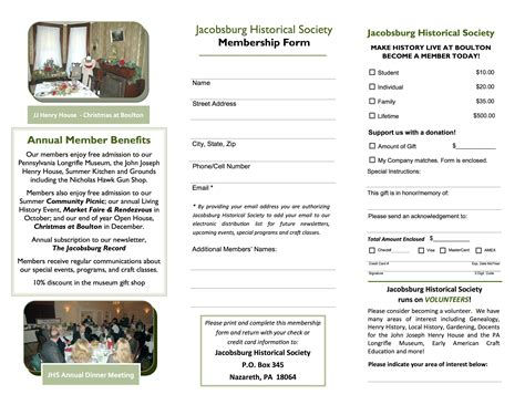 Brochure With Application by Become A Member 171 Jacobsburg Historical Society