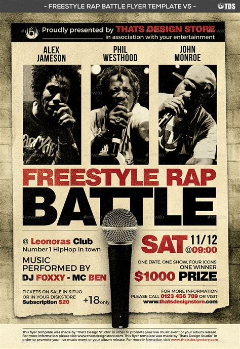 rap template freestyle rap battle flyer template v5 by lou606