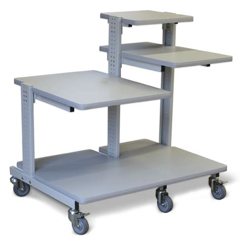 Small Rolling Computer Desk Multi Tray Computer Cart Afcindustries