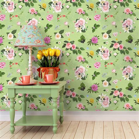 self adhesive wall paper self adhesive spring green floral wallpaper by oakdene