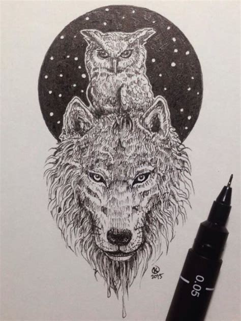 tattoo owl wolf amazing owl and wolf pic by kerby rosanes may have to