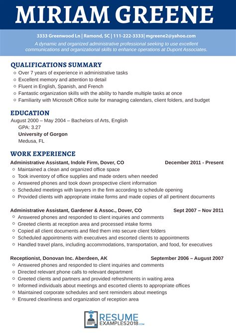 Best Receptionist Resume by Awesome Receptionist Resume Exles 2018