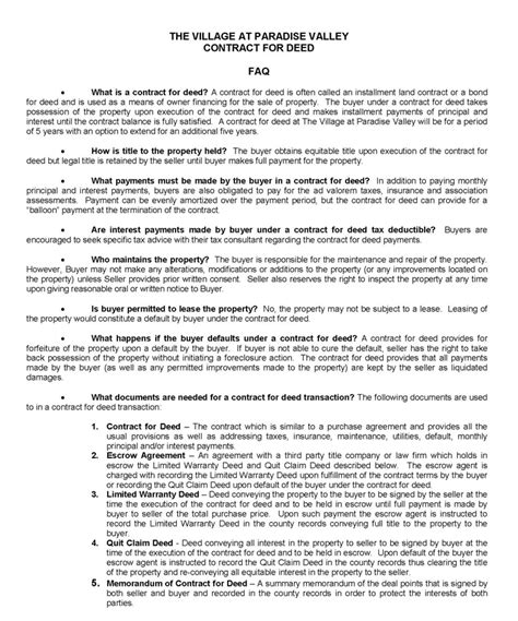 Contract For Deed Printable Contracts Free Contract For Deed Template