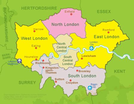 sections of london areas of london map