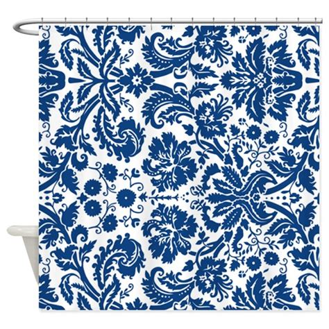 blue white shower curtain navy blue white damask shower curtain by dreamingmindcards