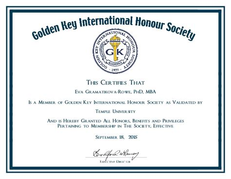 Mba Honor Society by Golden Key Honor Society Certificate
